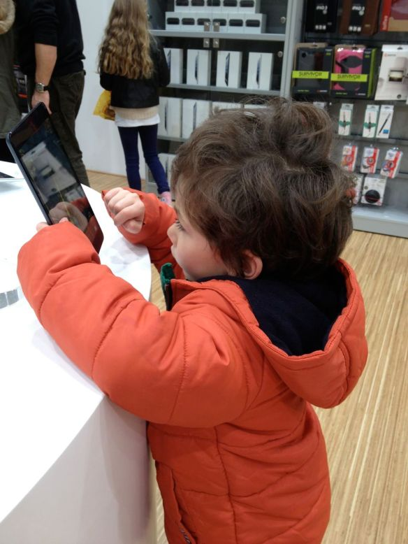 Pre-kinder student Thomas (aged 5) confidently using an iPad Mini in an Apple Store. Admittedly, this was Temple Run but his high score was quite impressive!